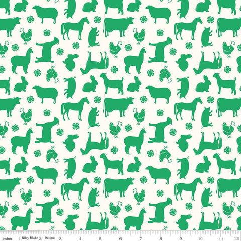 "SALE 4-H Main Cream - Riley Blake Designs - Farm Animals Horse Cows Sheep Goats Rabbits  - Quilting Cotton Fabric - 1 yard 12"" end of bolt"