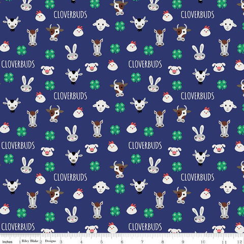 "SALE 4-H Cloverbuds Blue - Riley Blake - Blue Cream Agriculture Farm Animal 4-H Emblem - Quilting Cotton Fabric - 1yd 3"" end of bolt piece"