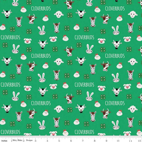 "SALE 4-H Cloverbuds Green - Riley Blake - Green Agriculture Farm Animal Heads 4-H Emblem - Quilting Cotton Fabric - 1yd 5"" end of bolt piece"