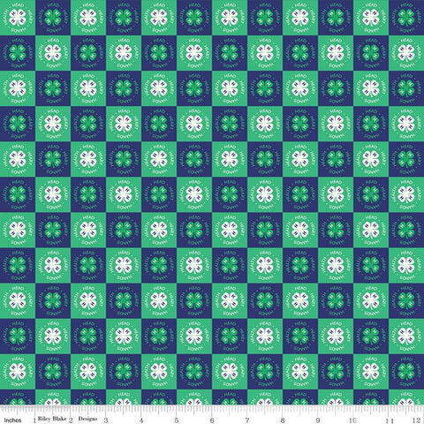 SALE 4-H Clover Blocks Blue - Riley Blake Designs - Green Cream Agriculture 4-H Emblem Check Checked Checkerboard - Quilting Cotton Fabric