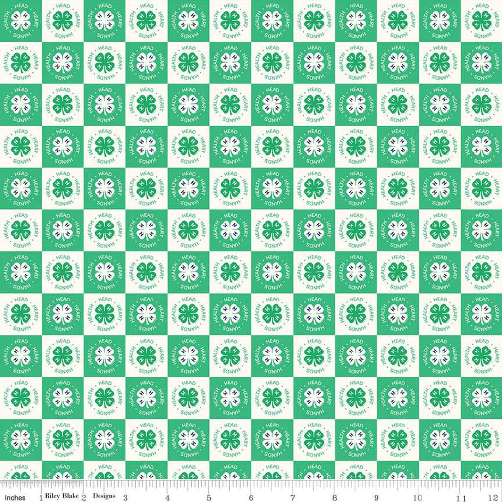 SALE 4-H Clover Blocks Cream - Riley Blake Designs - Green Cream Agriculture 4-H Emblem Check Checked Checkerboard - Quilting Cotton Fabric