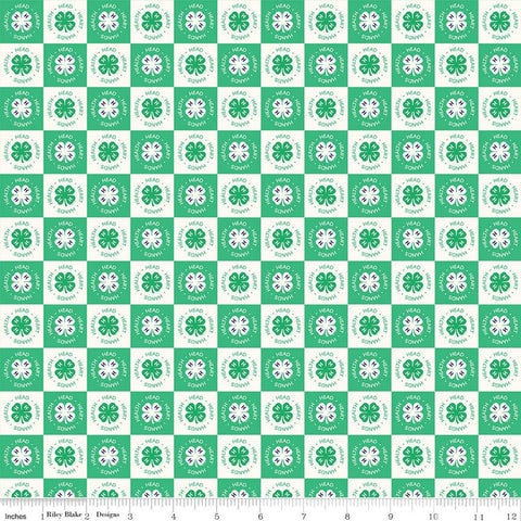 4-H Clover Blocks Cream - Riley Blake Designs - Green Cream Agriculture 4-H Emblem Check Checked Checkerboard - Quilting Cotton Fabric