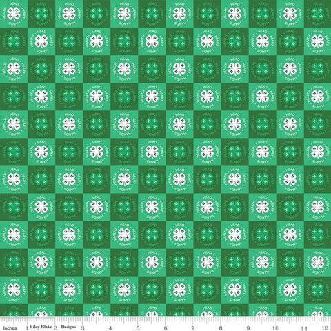 4-H Clover Blocks Green - Riley Blake Designs - Green Cream Agriculture 4-H Emblem Check Checked Checkerboard - Quilting Cotton Fabric