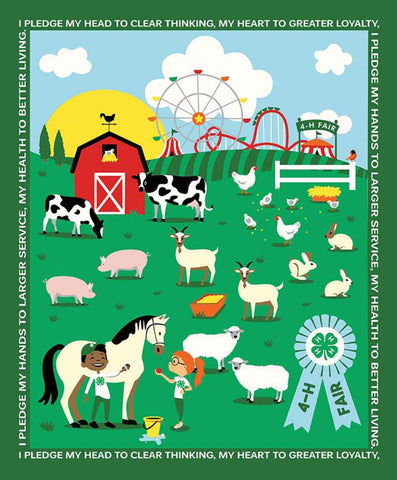 4-H At the Fair Panel by Riley Blake Designs - Agriculture Farming Youth Achievement 4-H Motto Farm Animals - Quilting Cotton Fabric