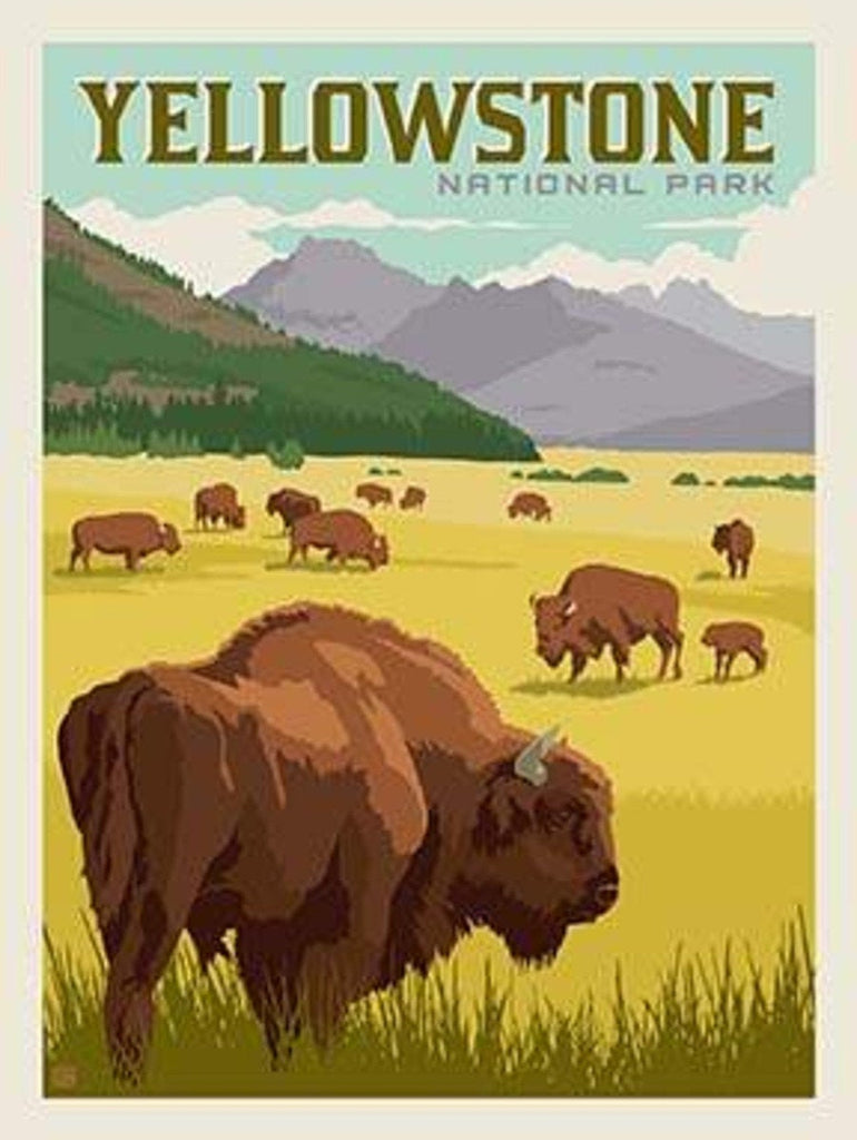 SALE National Parks Poster Panel Yellowstone by Riley Blake Designs - Outdoors Recreation Wyoming Montana Bison - Quilting Cotton Fabric