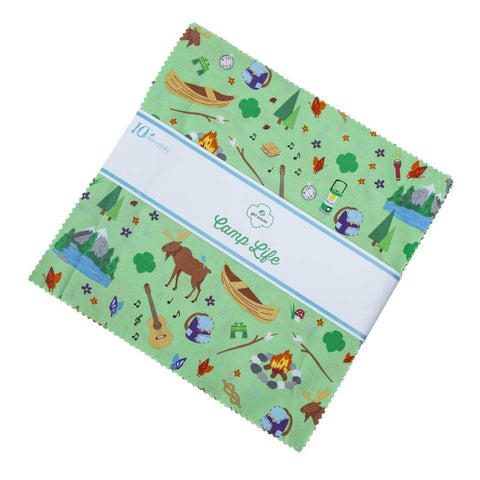 "Girl Scout Camp Life Layer Cake 10"" Stacker Bundle - Riley Blake Designs - 42 piece Precut Pre cut - Scouting - Quilting Cotton Fabric"