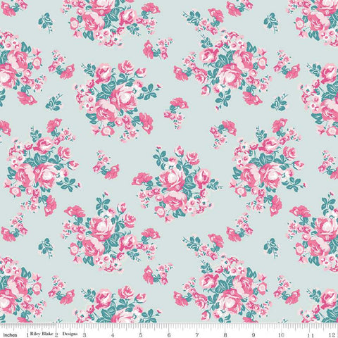 Chloe and Friends Floral Mint - Riley Blake Designs - Green Pink Cat Cats Floral Flowers Roses - Quilting Cotton Fabric