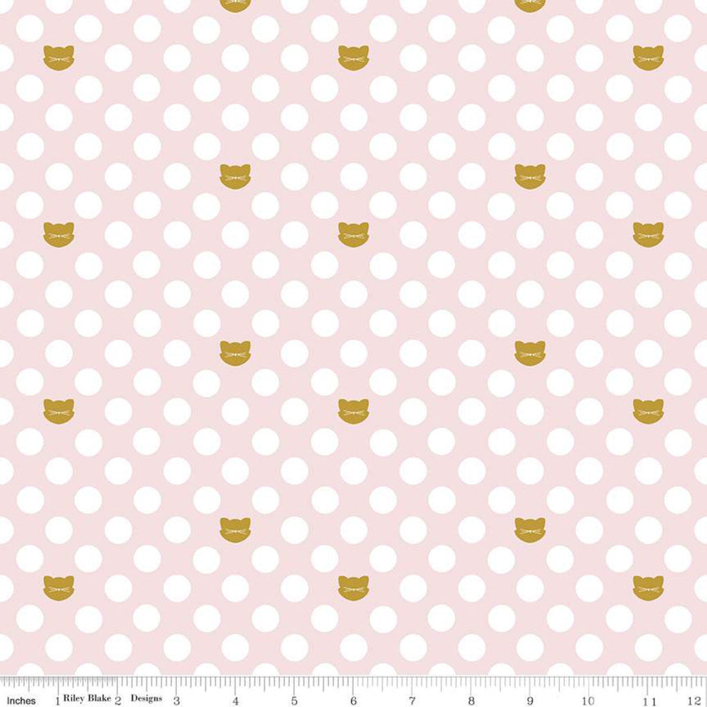 "Chloe and Friends Cat Dot Pink SPARKLE - Riley Blake Designs - Gold METALLIC Cats Cat 1/2"" Polka Dots - Quilting Cotton Fabric"