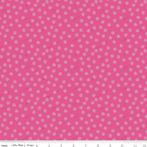 Chloe and Friends Yarn Ball Hot Pink - Riley Blake Designs - Cat Cats Kittens - Quilting Cotton Fabric