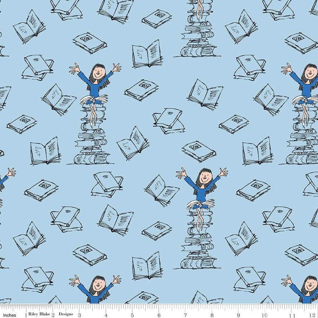 Matilda Standing Books Blue - Riley Blake Designs - Roald Dahl Reading - Quilting Cotton Fabric