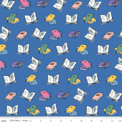 SALE Matilda Book Toss Blue - Riley Blake Designs - Roald Dahl Reading - Quilting Cotton Fabric