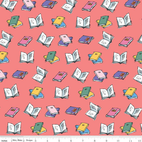 Matilda Book Toss Coral - Riley Blake Designs - Roald Dahl Reading Orange Pink - Quilting Cotton Fabric