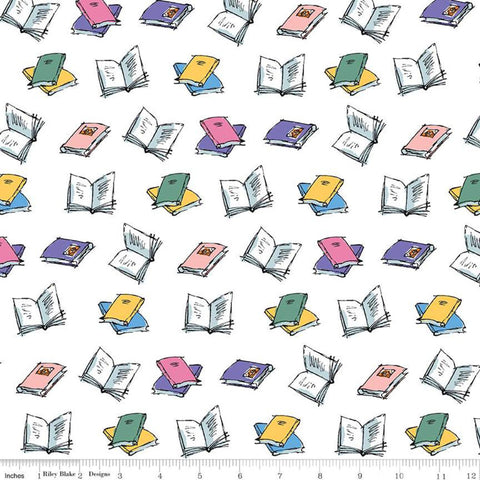 Matilda Book Toss White - Riley Blake Designs - Roald Dahl Reading - Quilting Cotton Fabric