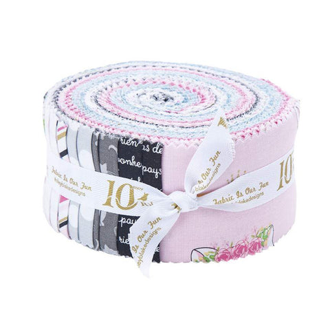 Chloe and Friends 2.5-Inch Rolie Polie Jelly Roll 40 pieces Riley Blake Designs - Precut Bundle - Cat Cats - Quilting Cotton Fabric