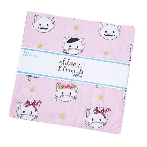 "Chloe and Friends Layer Cake 10"" Stacker Bundle - Riley Blake Designs - 42 piece Precut Pre cut - Cat Cats - Quilting Cotton Fabric"