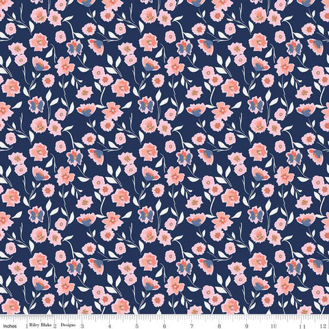 Midnight Rose Floral Navy SPARKLE Knit by Riley Blake Designs - Gold Sparkle Blue - Jersey KNIT cotton lycra spandex stretch fabric