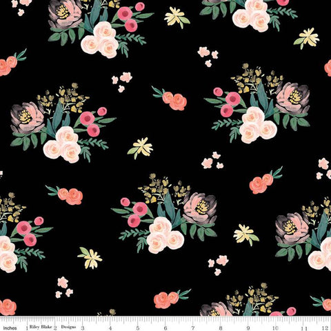 Flower Market Main Black - Riley Blake Designs - Floral Flowers  - Quilting Cotton Fabric