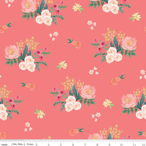 "Flower Market Main Coral - Riley Blake Designs - Floral Flowers Orange Pink - Quilting Cotton Fabric - 1 yard 31"" end of bolt piece"