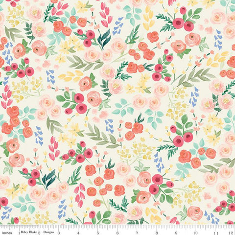 Flower Market Wallpaper Cream - Riley Blake Designs - Floral Flowers - Quilting Cotton Fabric