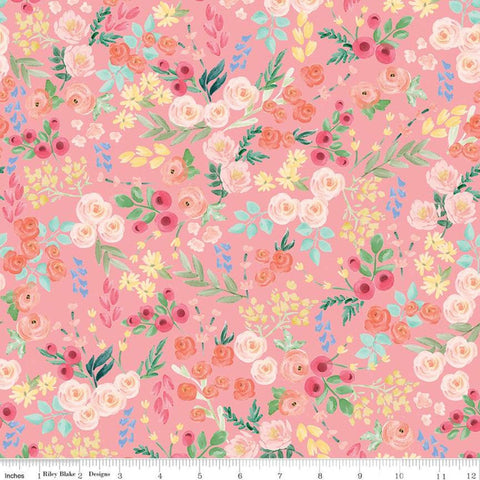 Flower Market Wallpaper Light Coral - Riley Blake Designs - Floral Flowers Pink Orange - Quilting Cotton Fabric