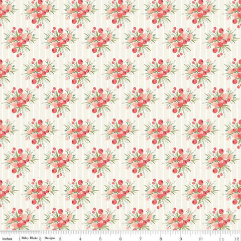 Flower Market Bouquets Cream - Riley Blake Designs - Floral Flowers Stripes Orange Pink - Quilting Cotton Fabric