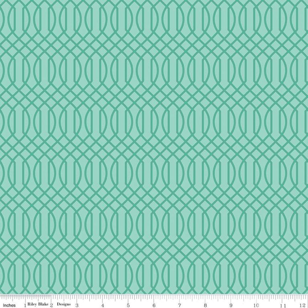 Flower Market Geometric Teal - Riley Blake Designs - Interwovern Diamonds Blue Green - Quilting Cotton Fabric