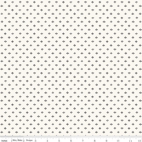 SALE Flower Market Folk Cream - Riley Blake Designs - Geometric Dots Leaves - Quilting Cotton Fabric