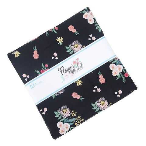 "Flower Market Layer Cake 10"" Stacker Bundle - Riley Blake Designs - 42 piece Precut Pre cut - Flowers Floral - Quilting Cotton Fabric"