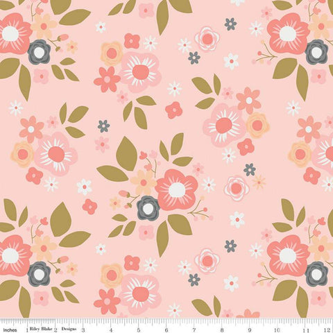 A Little Bit of Sparkle Main Pink SPARKLE - Riley Blake Designs - Gold METALLIC Floral Flowers - Quilting Cotton Fabric - end of bolt pieces