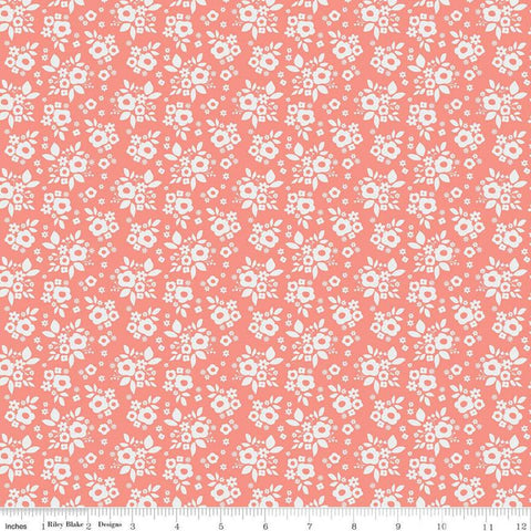 SALE A Little Bit of Sparkle Bouquet Coral - Riley Blake Designs - White Flowers Floral - Quilting Cotton Fabric