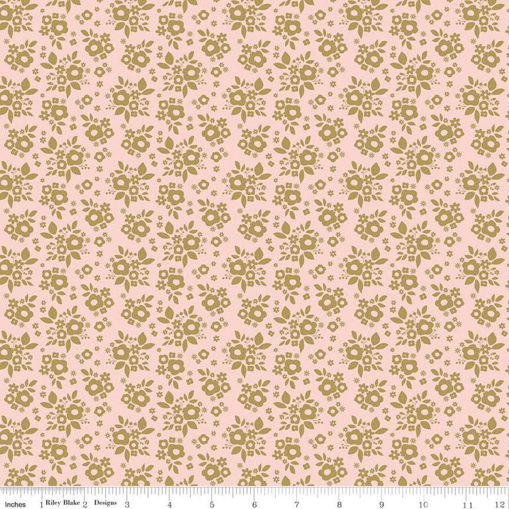 A Little Bit of Sparkle Bouquet Pink SPARKLE - Riley Blake Designs - Pink Gold METALLIC Floral Flowers - Quilting Cotton Fabric
