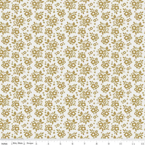 A Little Bit of Sparkle Bouquet White SPARKLE - Riley Blake Designs - White Gold METALLIC Floral Flowers - Quilting Cotton Fabric