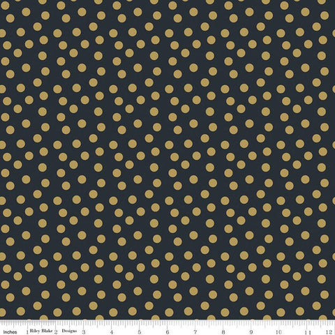 A Little Bit of Sparkle Dot Black SPARKLE - Riley Blake Designs - Gold METALLIC Small Dots  - Quilting Cotton Fabric