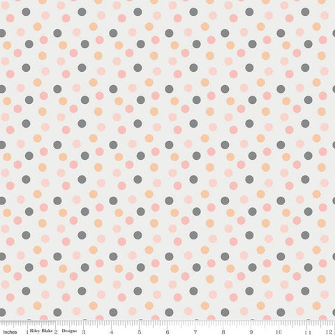 A Little Bit of Sparkle Dot White - Riley Blake Designs - White Scattered Small Dots - Quilting Cotton Fabric