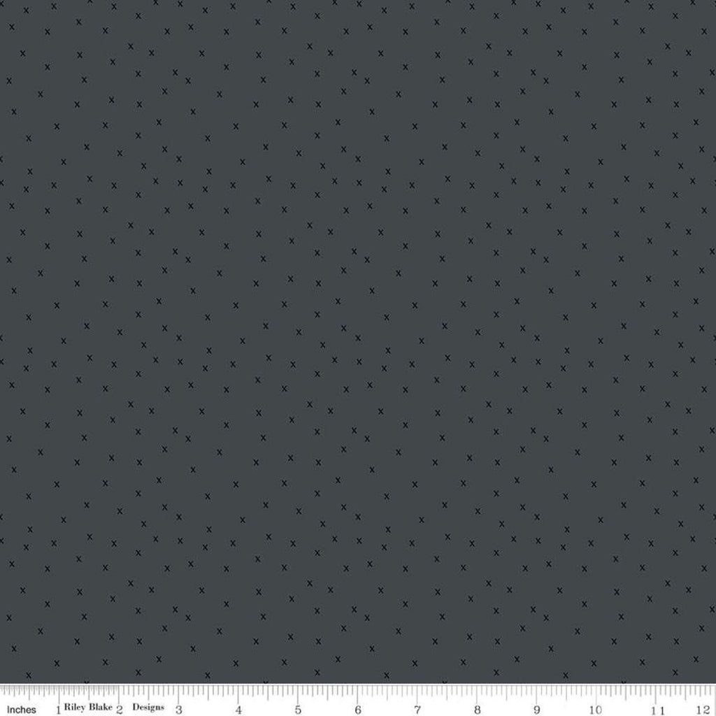 Gingham Farm X's Charcoal - Riley Blake Designs - Tone-on-Tone Gray  - Quilting Cotton Fabric