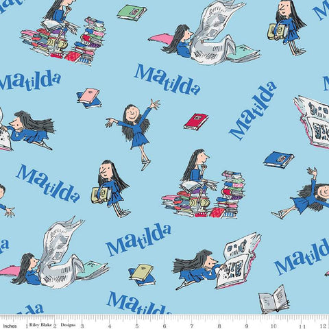 Matilda Main Blue - Riley Blake Designs - Roald Dahl Reading Books - Quilting Cotton Fabric