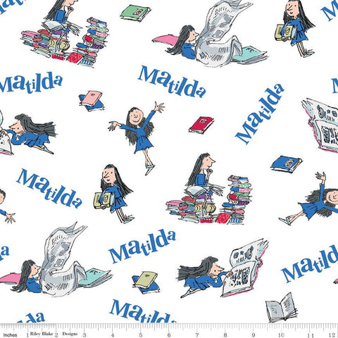 Matilda Main White - Riley Blake Designs - Roald Dahl Reading Books - Quilting Cotton Fabric