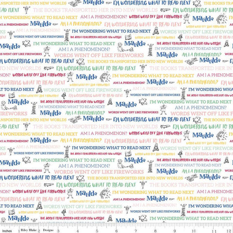 Matilda Text White - Riley Blake Designs - Roald Dahl Reading Books Words Quotes - Quilting Cotton Fabric