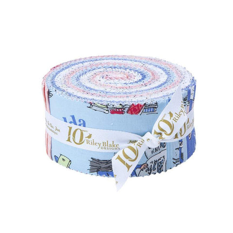 SALE Matilda 2.5 Inch Rolie Polie Jelly Roll 40 pieces Riley Blake Designs - Precut Pre cut Bundle - Roald Dahl - Quilting Cotton Fabric