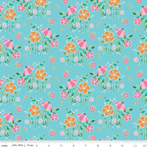 Play Outside Main Blue - Riley Blake Designs - Flowers Floral - Quilting Cotton Fabric