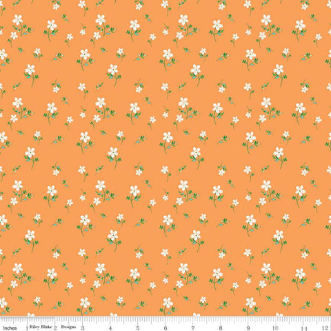Play Outside Flowers Orange - Riley Blake Designs - White Flower Floral - Quilting Cotton Fabric