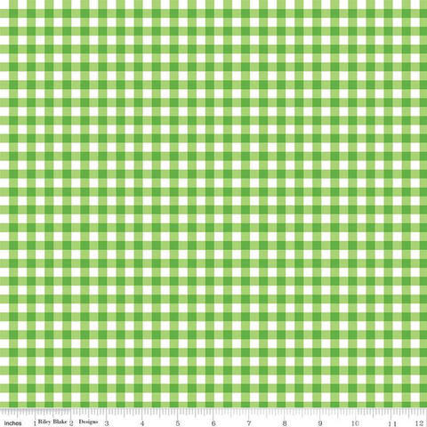 Play Outside PRINTED Gingham Green - Riley Blake Designs - Green White Checker - Quilting Cotton Fabric