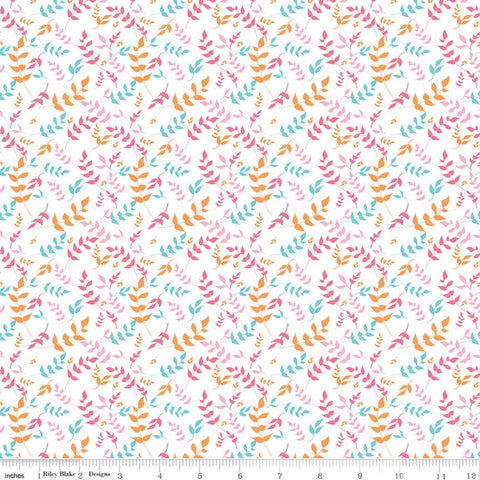 SALE Play Outside Branches White - Riley Blake Designs - Pink Orange Blue Leaves - Quilting Cotton Fabric
