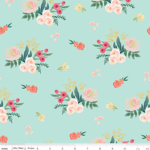 SALE Flower Market Main Mint - Riley Blake Designs - Floral Flowers Green - Quilting Cotton Fabric