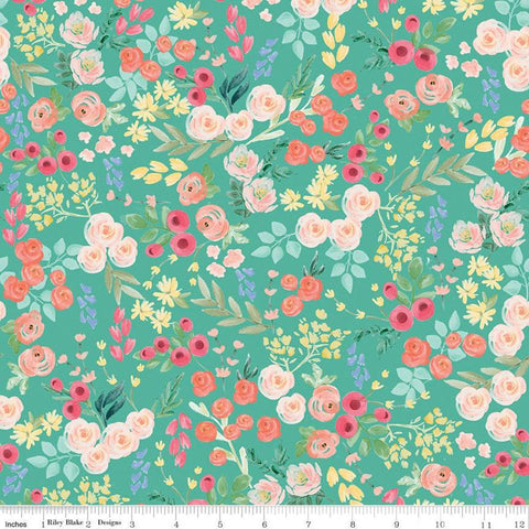 Flower Market Wallpaper Teal - Riley Blake Designs - Floral Flowers Blue Green - Quilting Cotton Fabric