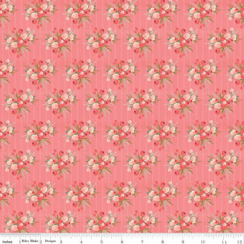 Flower Market Bouquets Coral - Riley Blake Designs - Floral Flowers Stripes Orange Pink - Quilting Cotton Fabric