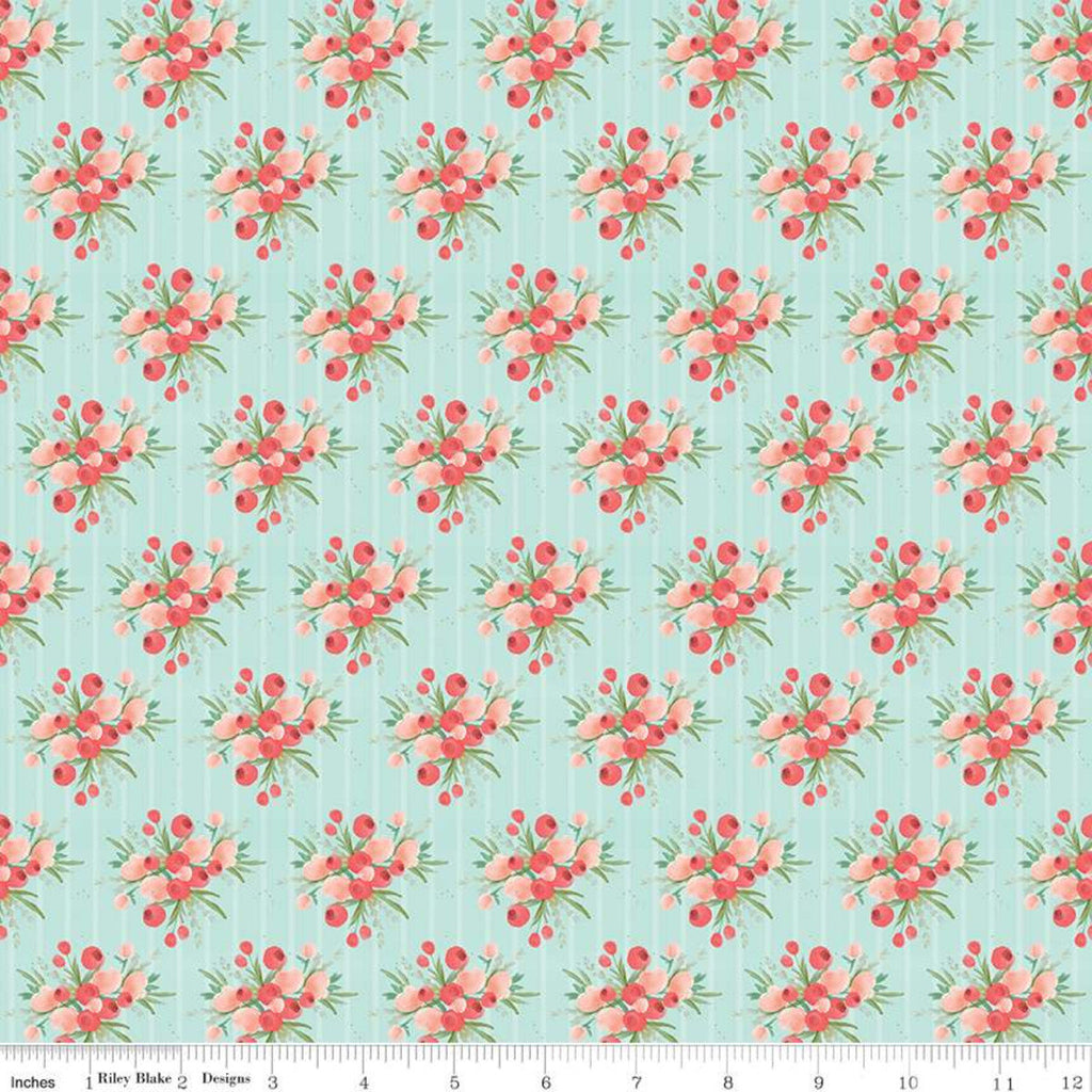 Flower Market Bouquets Mint - Riley Blake Designs - Floral Flowers Stripes Green - Quilting Cotton Fabric