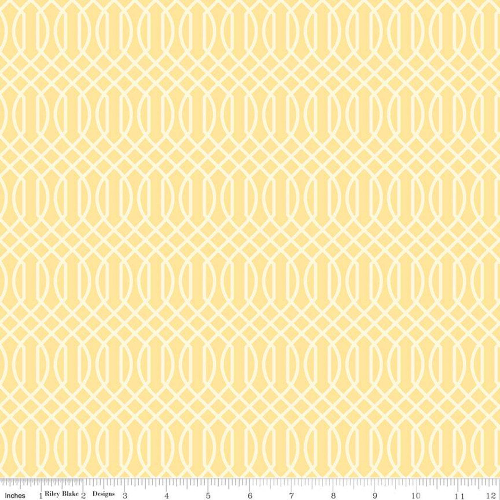 Flower Market Geometric Yellow - Riley Blake Designs - Interwovern Diamonds Cream - Quilting Cotton Fabric
