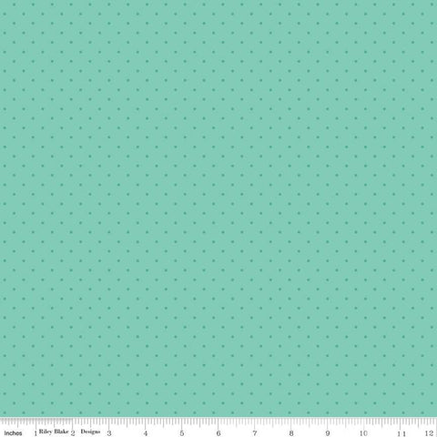 Flower Market Dots Teal - Riley Blake Designs - Tone on Tone Swiss Dots Blue Green - Quilting Cotton Fabric