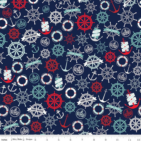 Deep Blue Sea Anchors Navy - Riley Blake Designs - Anchors Life Preservers Ship Wheels Blue -  Quilting Cotton Fabric